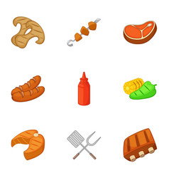 Camping cooking icons set cartoon style vector