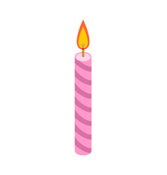 Candle pink for birthday cake accessory holiday vector