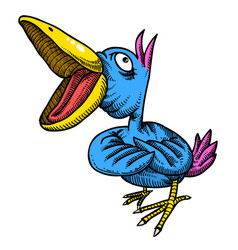 Cartoon image of singing bird vector