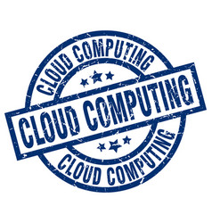 Cloud computing blue round grunge stamp vector