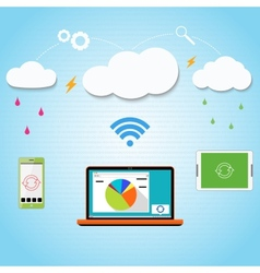 cloud computing to your smartphone laptop and vector image vector image