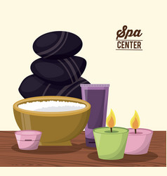 color poster of spa center with facial cream and vector image vector image