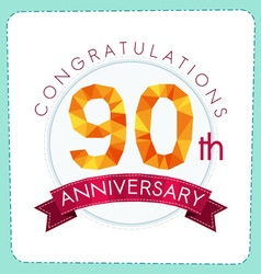 Colorful polygonal anniversary logo 3 090 vector