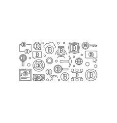 Cryptocurrency horizontal outline banner - vector