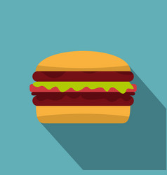 Delicious hamburger icon flat style vector