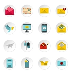 Email icons icons set flat style vector image