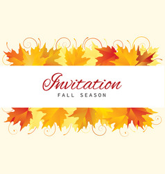 fall invitation card design with leaves vector image vector image