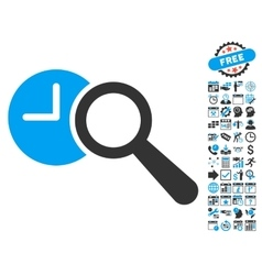 Find Time Flat Icon With Bonus vector image vector image