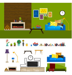 Flat interior set for home living room furniture vector