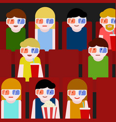 Flat people sitting in the cinema and watching a vector