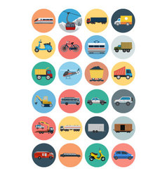 Flat transport icons 3 vector