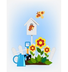 Flower beds and bird house vector