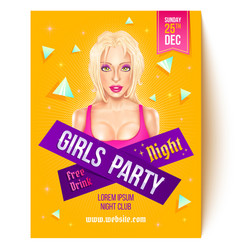 Flyer for girls party vector