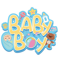 Font design for word baby boy with baby and toys vector