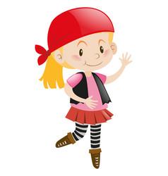 Girl in pirate costume vector