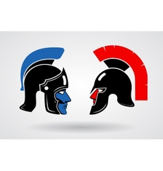 Gladiators heads in ancient helmets vector