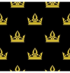Golden crowns black seamless pattern vector