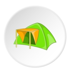 Green tent icon cartoon style vector image