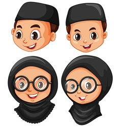 Head of muslim boy and girl vector image vector image