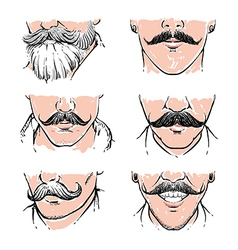 Hipster mustache drawing retro clipart vector