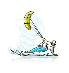 Kite surfer on snowboard sketch for your design vector