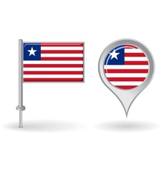 Liberian pin icon and map pointer flag vector