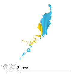 Map of Palau with flag vector image