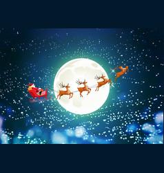 Merry christmas santa claus in sleigh reindeer vector