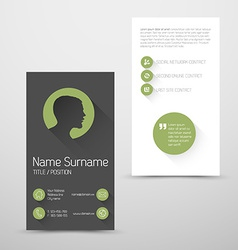 Modern green business card template with flat user vector