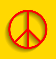 Peace sign red icon with vector