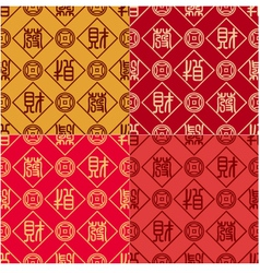seamless chinese calligraphy Fa Cai pattern vector image