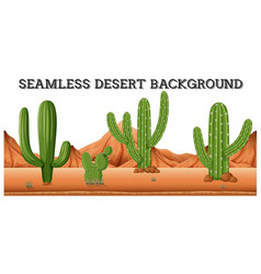 Seamless desert background with cactus plants vector
