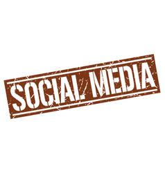 Social media square grunge stamp vector