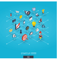 Startup integrated 3d web icons growth and vector