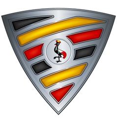 steel shield with flag uganda vector image vector image