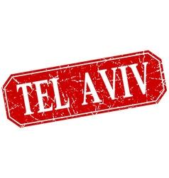 Tel aviv red square grunge retro style sign vector