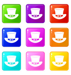 Top hat with buckle icons 9 set vector