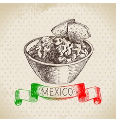 Mexican traditional food background with guacamole vector