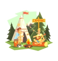 Two guys enjoying camping in forest vector