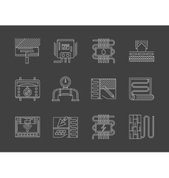 Warm floor system white line icons set vector