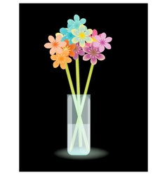 Multicolored flowers in vase vector image