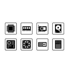 Computer hardware web icon set vector