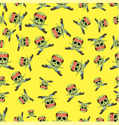 Skull cross sharp dagger seamless pattern vector