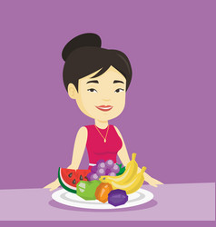 Woman with fresh fruits vector