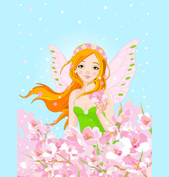 Spring fairy and blossom flowers vector
