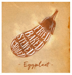 Eggplant cutting scheme craft vector