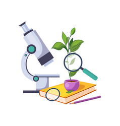 botany kit with microscope and plant in pot set vector image