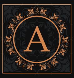 Florishes gold letter a calligraphic heraldic dark vector