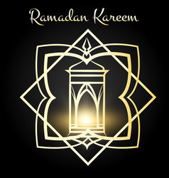 Ramadan kareem poster with golden lamp vector