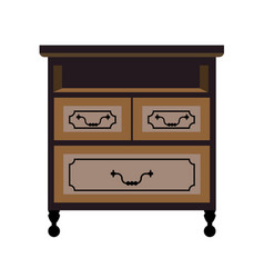 Chest of drawers retro furniture piece flat vector